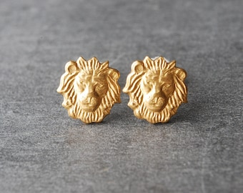Lion Earrings Brass Lion Head Stud Earrings