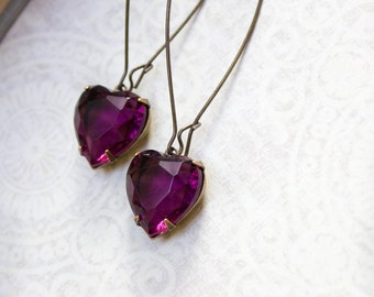 Long Earrings Amethyst Rhinestone Heart Earrings Dark Purple Vintage Glass Drop Earrings Valentines Day Long Earrings Dangle Earrings