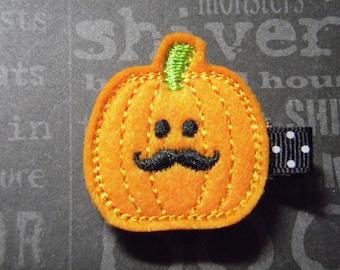 "Halloween ""Mustache Pumpkin"" Felt Clippie Hair Clip - For Infant Toddler Girl"