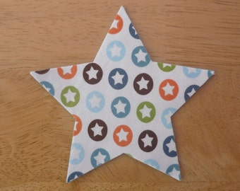 Star #1 - Iron on Fabric Applique - 10.5cm x 10cm large fabric iron on star, made to order, choose your fabrics, ships from UK