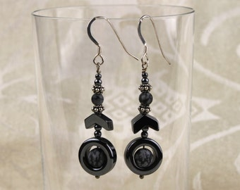 Long Earrings, Hematite Dangle Earrings with Snowflake Obsidian Beads, Sterling Silver, Hematite Earrings, Dangle,