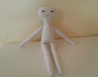 Unfinished Doll with Face 16in (40 cm), Rag Doll DIY, Natural, Cream, White