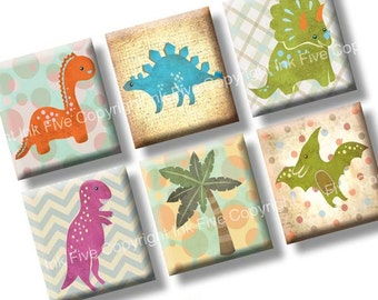 Dinosaurs scrabble tile images 0.75x0.83 inch. Two 4x6'' Collage Sheets for neclaces. Digital download printable graphcs. Cute dinos squares