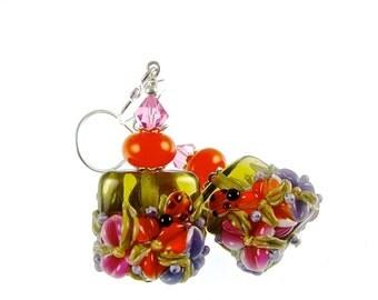 Green Lampwork Earrings, Glass Bead Earrings, Orange Pink Floral Earrings, Lampwork Jewelry, Purple Flower Drop Earrings, Glass Bead Jewelry
