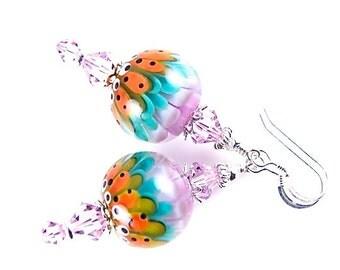 Orange Lampwork Earrings, Dangle Earrings, Glass Bead Earrings, Lavender Abstract Earrings, Lampwork Jewelry, Beadwork Earrings