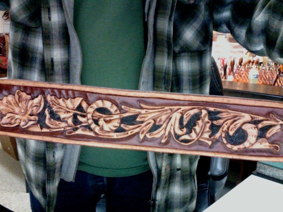 Belt leather sheridan custom hand carved and tooled