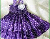 Easter dress - Purple and white polka-dot dress for girls - Purple tiered dress for girls - Girls purple dress - Purple Birthday party dress