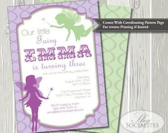 Purple and Green Fairy Birthday Invitation | Pixie Invitation, Fairy Invitation, Fairy Party, Fairies | Printed or Printable Invitations