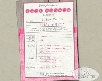 Girls Library Baby Shower Invitation | Vintage Library Card, Stock the Library, Bring a book, Book Baby Shower | INSTANT DOWNLOAD