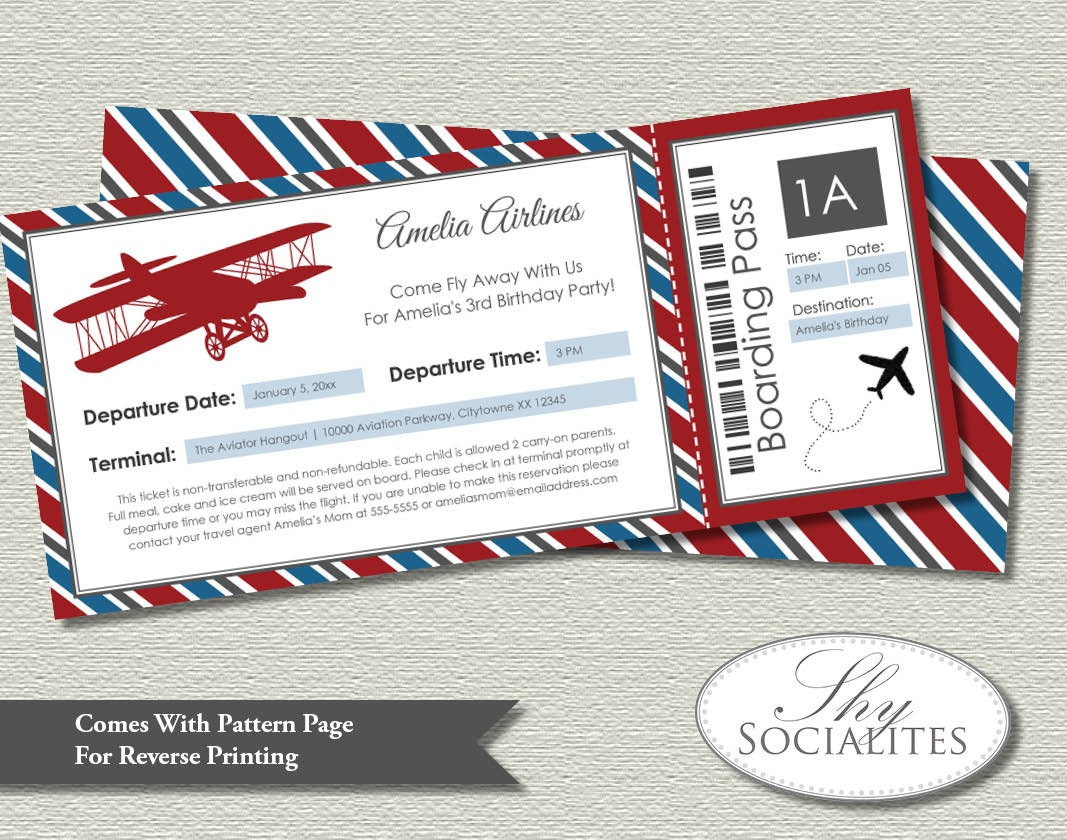 Airline Ticket Invitations with nice invitation design