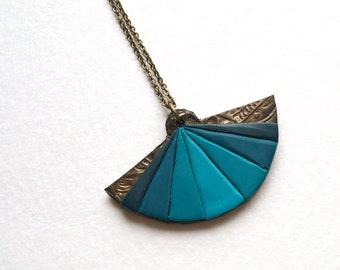 Teal fan necklace antique looking polymer clay necklace bronze teal turquoise robin egg blue