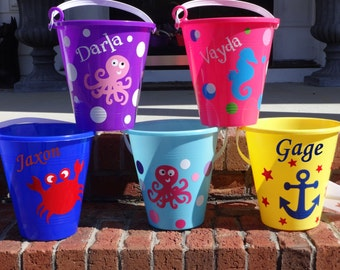 Personalized Beach Bucket Sand Pail  Toddler sand bucket Childs Bucket