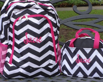 Personalized  Girls  Backpack   BLACK  Chevron Backpack and Lunch Box Set Fuchsia and Black