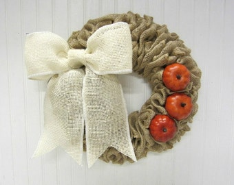 Handmade Burlap Wreath with Orange Fall Pumpkins and a Creamy White Burlap Bow