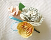 book page and colored roses boutonniere buttonhole for weddings, proms, formals and even as wrist corsage