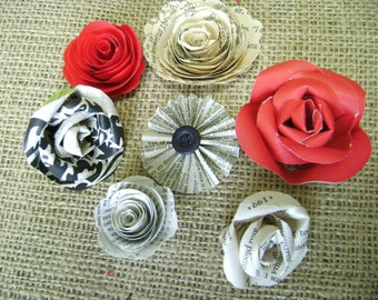 7 mini roses embellishments for scrapbooks cards and wedding decor