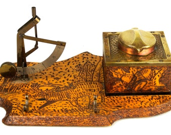 Vintage Handmade Desk Set -with Pyrographic Decoration -PRICE REDUCED