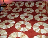 1970's Quilt Handmade Hand Quilted Stitched Dresden Plate Calico Vintage Bedspread Comforter Rust Brown Tan Cream