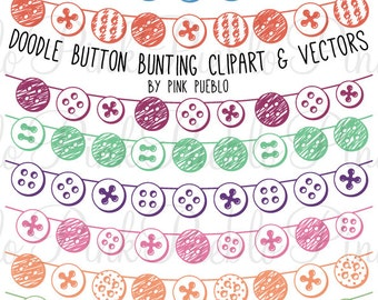 Doodle Button Bunting Photoshop Brushes, Hand Drawn Flag Banner Ribbon Photoshop Brush - Commercial and Personal Use