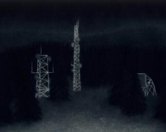 Mountain Radio Towers - Original Mezzotint