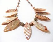 Shell Leaf Necklace- Tribal Necklace- Statement Necklace- Bib Necklace- Necklace Earring Set