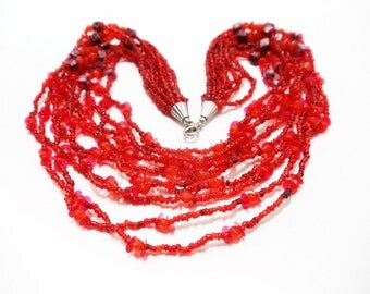 1980s Necklace- Bib Necklace- Statement Necklace- Twist Necklace- Multistrand Necklace- Glass Necklace- 10 Strand Necklace- Boho Necklace
