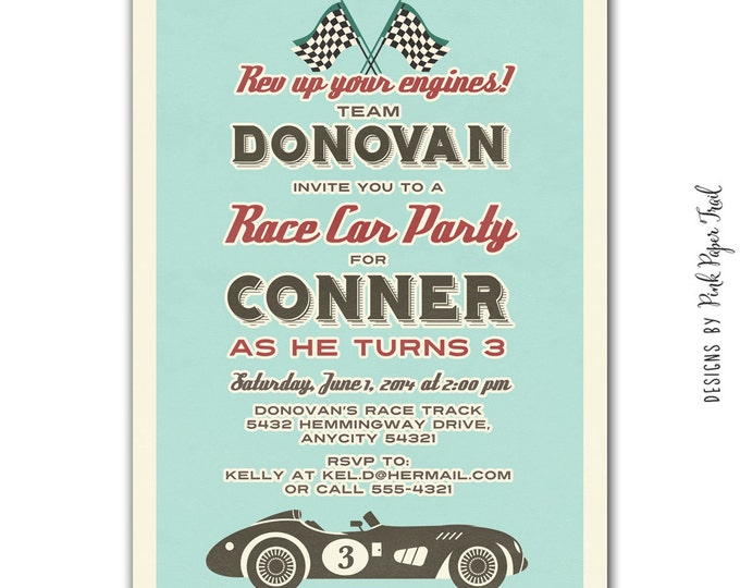 Retro Race Car Invitation v.1- DIY, Print Your Own