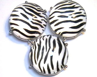 """Three 2 Hole Slider Or Spacer Beads 7/8"""" Zebra Safari Animal Print With Clear Glass Cabochons"""