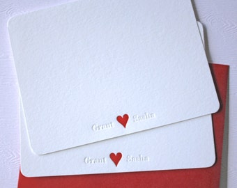 Personalized Wedding Thank You Cards Letterpress Heart