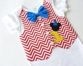 Mickey Mouse First Birthday Tuxedo Bodysuit Vest with Matching Bow Tie