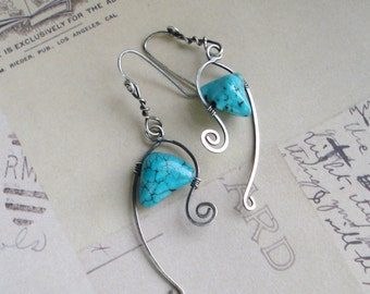 Turquoise Howlite & Sterling Silver Wire Earrings