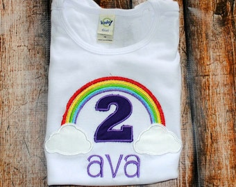 Rainbow Birthday Embroidered Shirt or body suit