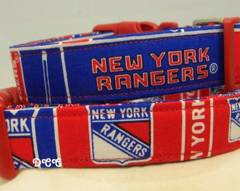 Dog Collar New York Rangers Sports Hockey Blue Red Adjustable Dog Collar D Ring Handmade Choose Size Accessory Accessories Pet Pets