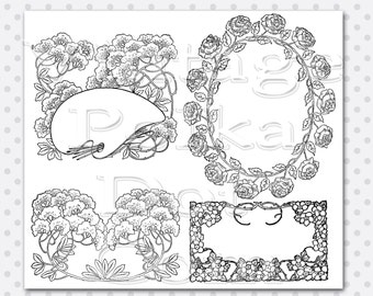 Clip Art Victorian Graphics Printable Digital Set of 4 Floral Frames Victorian Instant Download