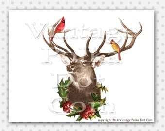Clip Art Vintage Deer with Antlers Holly Berries Cardinals Christmas Altered Art Collage Vintage Graphic Printable Instant Download