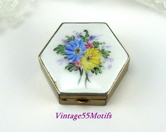 Vintage Enamel Pill Box Hand Painted floral Octagon shape