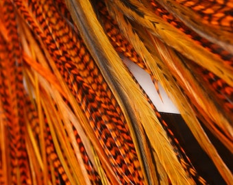 Orange Hair Feathers Extensions Kit Orange Feather Hair Accessories for Women