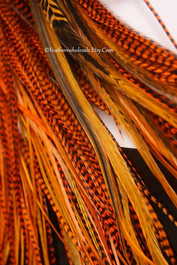 Deep Orange Feather Hair Extensions 7 Bright Orange Hair Feathers Womens Hair Accessories