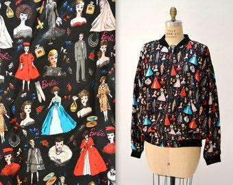 90s VIntage Nicole Miller Silk Bomber Jacket with BARBIE Doll Print size Large