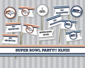 Super Bowl XLVIII Party! Toothpick flags and 1.5 inch cupcake toppers - instant download, print and use
