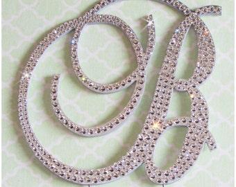 Monogram Cake Toppers - Swarovski crystal handmade custom wedding cake toppers with removable stakes