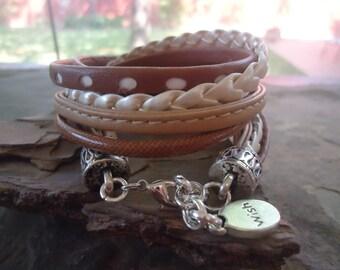 MIX in BEIGE CARAMEL wrap bracelet wish (707)