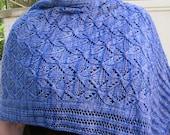 Knit Shawl Pattern:  Cable Lace Snowflake  Shawl Knitting Pattern