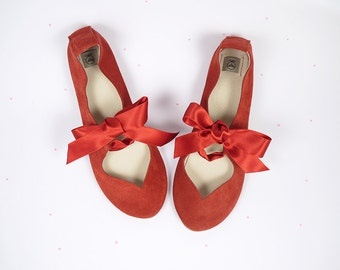 Heart Shaped Red Handmade Ballet Flats Shoes
