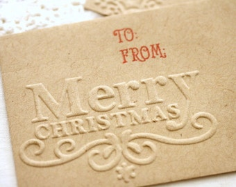 Christmas Gift Card Holders Merry Christmas set of 6 Handmade Embossed Gift Envelopes With Enclosure Card  Rustic Christmas