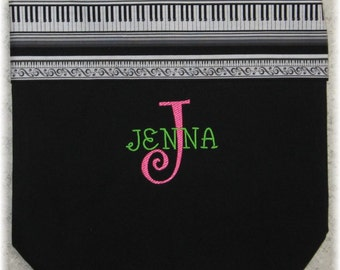 Personalized music lesson book bag treble clef piano keyboard black canvas embroidery student birthday recital kids gift idea
