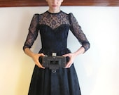 Midnight Sonata Dress / Gothic Sweetheart Dress / Satin and lace Gunne Sax dress