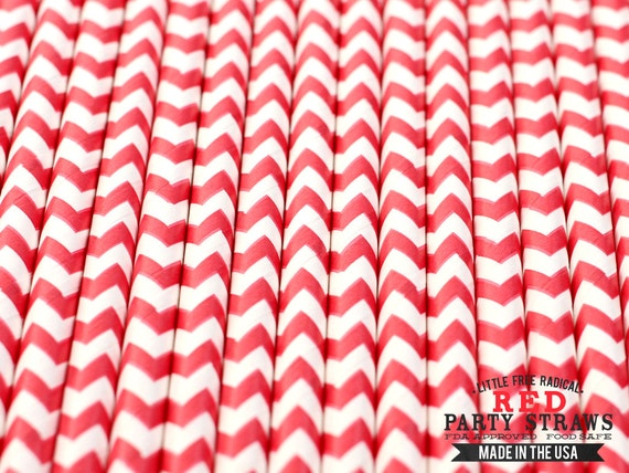 RED Chevron Eco-friendly Paper Party Straws & Digital Flags - - - Made in the USA - - - FDA approved - - - Ships within 1 Businesd Day