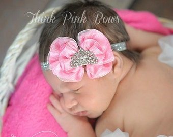 Pink baby Hedband,Baby Headbands, Baby tiara headband,newborn headband,Baby girl Headband,Baby Princess Tiara Headband, Crown headband.
