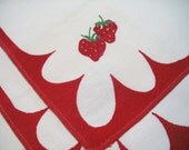 4 Vintage Cotton Napkins Bright Red Strawberries Eco Friendly Square